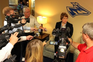 PHOTO: Athletics director candidate Berger meets with faculty, staff