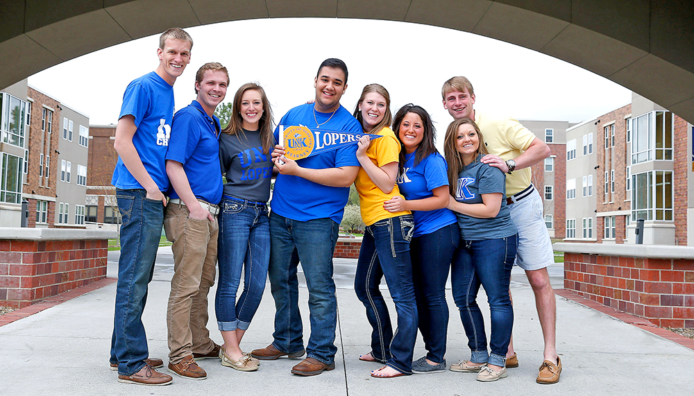 New Student Enrollment leaders at UNK this summer include, front row (left to right) John Gibbs, Tony Munch, Shelby Rust, Sergio Ceja, Heidi Hostert, Haley Allen, Carly Wollman and Madison Doughty. (Photo by Corbey R. Dorsey/UNK Communications)