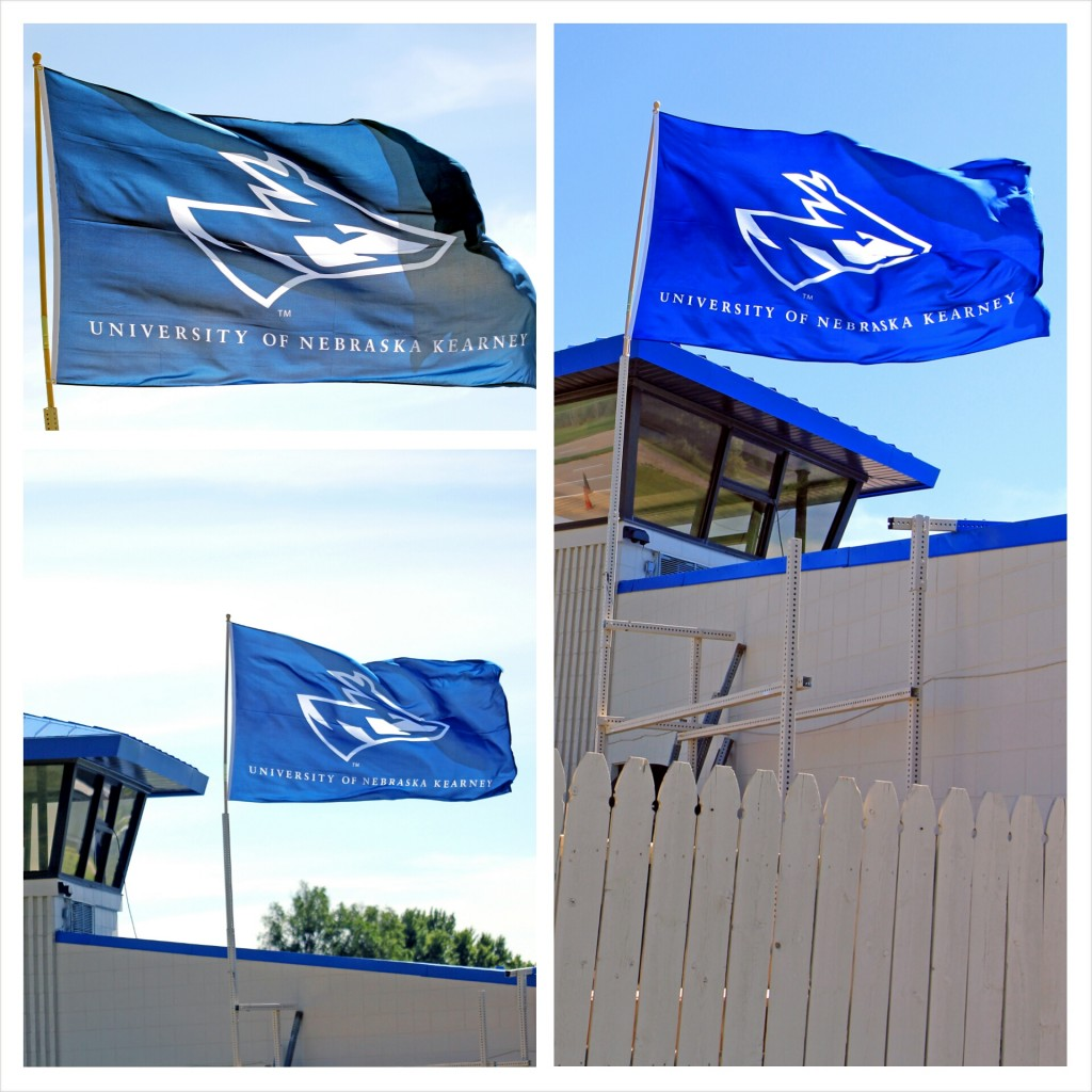"The Nebraska Safety Center recently added a 6' x 10' flag to its growing list of facility upgrades at the Cope Driving Range. ""We have almost 2,000 people utilize our range every year,"" says Transportation Safety Manager Brandon Benitz, ""and we wanted to let all of our students and guests know that when they come to the range, they are on the campus of the University of Nebraska at Kearney."""