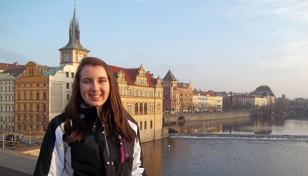 Jessica Albin at St. Charles' Bridge in Prague Czech Republic