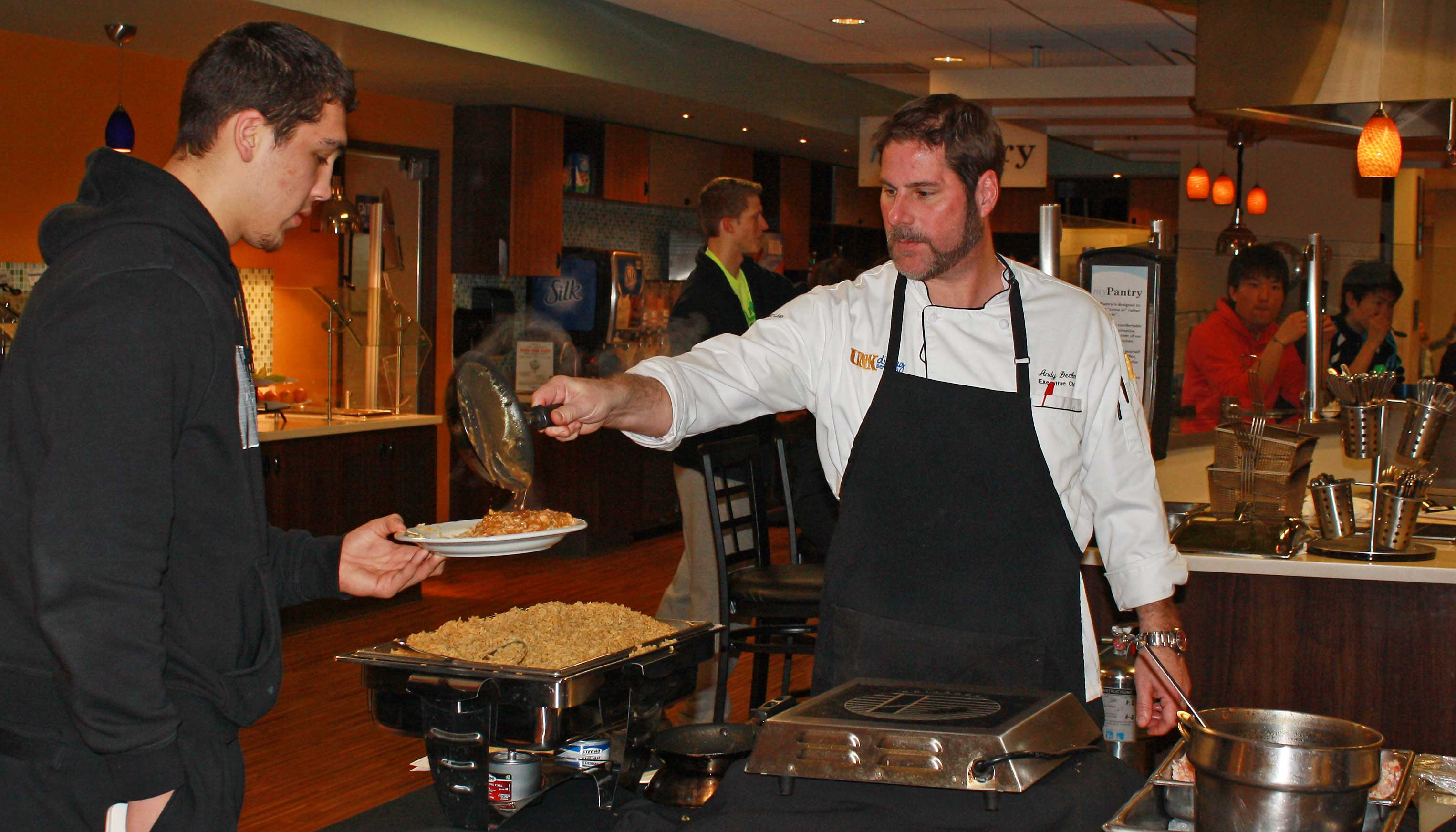 Andy Decker, executive chef of the UNK Dining Hall, shares his culinary experience with students in his Chef Andy: Cooking 101 tutorial that occurs twice each semester.