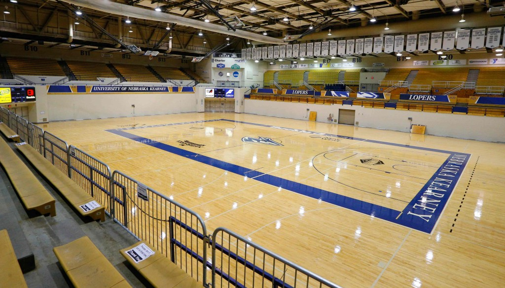 The entire lower level of bench-style seating at UNK's Health and Sports Center has been removed. New chair back seating at the arena highlights major facility upgrades that continue across the Loper athletic department.