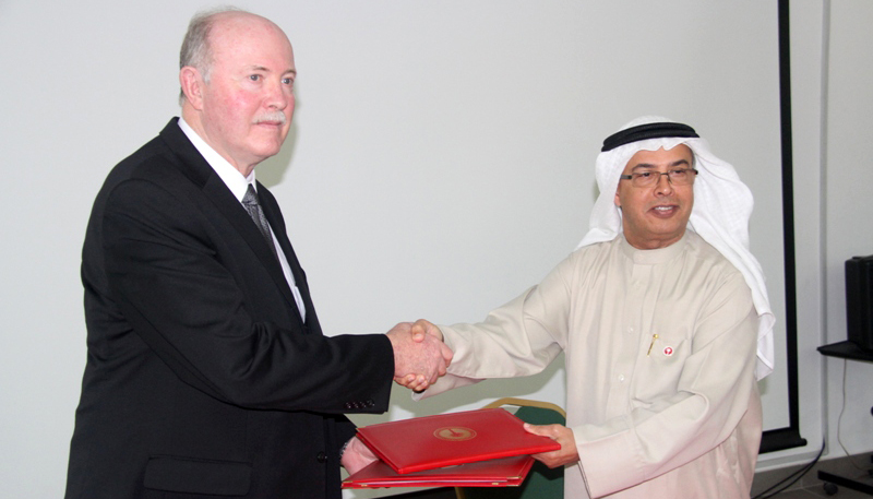 UNK Senior Vice Chancellor for Academic and Student Affairs Charlie Bicak meets with a representative from American University of Ras Al Khaimah. (Courtesy Photo)