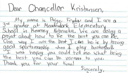 Chancellor Kristensen responds to third grader, then visits her school