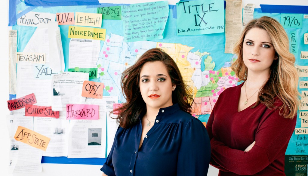 Activists and authors Andrea Pino, left, and Annie Clark were both sexually assaulted as undergraduates at the University of North Carolina at Chapel Hill. They will speak at UNK April 21. (Photo by Jeff Lipsky/CPi Syndication)