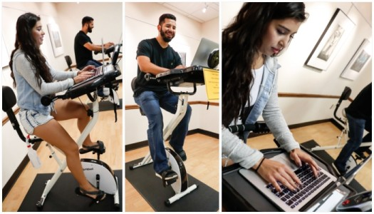 Too much homework to work out? UNK library has you covered with FitDesks