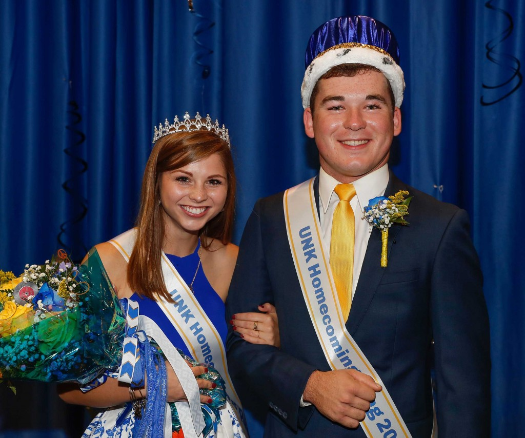UNK Homecoming queen Lainey Russell of Kearney and Luke Grossnicklaus of Aurora.