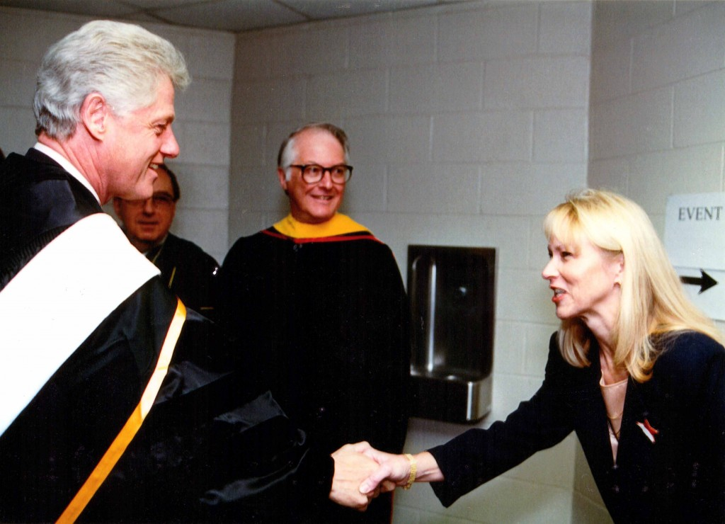 Bev Mathiesen says one of the memorable moments of her time at UNK was on Dec. 8, 2000, when she met President Bill Clinton during his visit to campus.