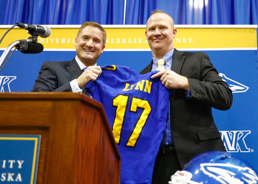 UNK Director of Athletics Paul Plinske, left, introduces Josh Lynn as the head football coach at a Friday news conference. Lynn replaces Josh Lamberson, who led the Lopers the past two years. A native of Eunice, N.M., Lynn spent the past five seasons as head coach at Eastern New Mexico, leading the Greyhounds to 27 wins, two C.H.A.M.P.S. Heart of Texas Bowl appearances and a share of the 2013 Lone Star Conference title. (Photos by Corbey R. Dorsey/UNK Communications)