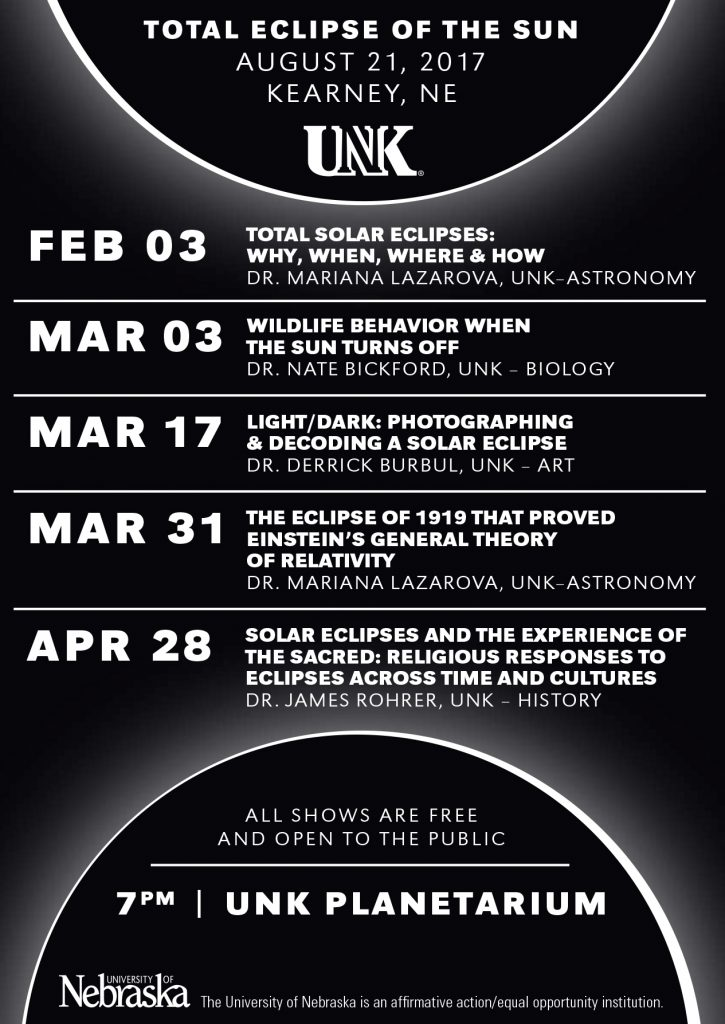 Total Eclipse Graphic with schedule of events