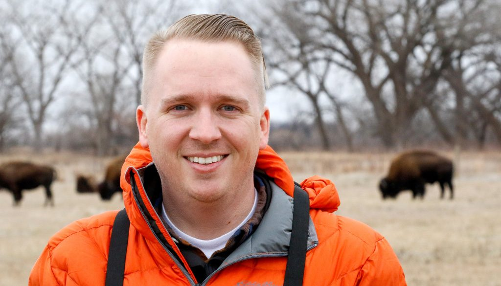 """Dustin Ranglack received the Southwood Prize by the British Ecological Society for his paper, """"Competition on the Range: Science vs. Perception in a Bison-Cattle Conflict in the Western USA."""" (Photo by Corbey R. Dorsey/UNK Communications)"""