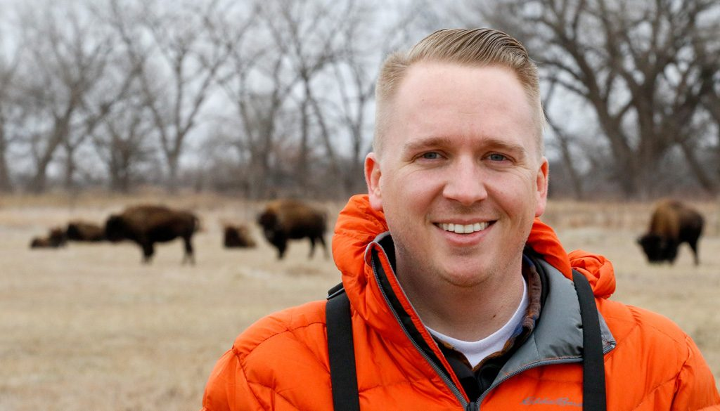 "Dustin Ranglack received the Southwood Prize by the British Ecological Society for his paper, ""Competition on the Range: Science vs. Perception in a Bison-Cattle Conflict in the Western USA."" (Photo by Corbey R. Dorsey/UNK Communications)"