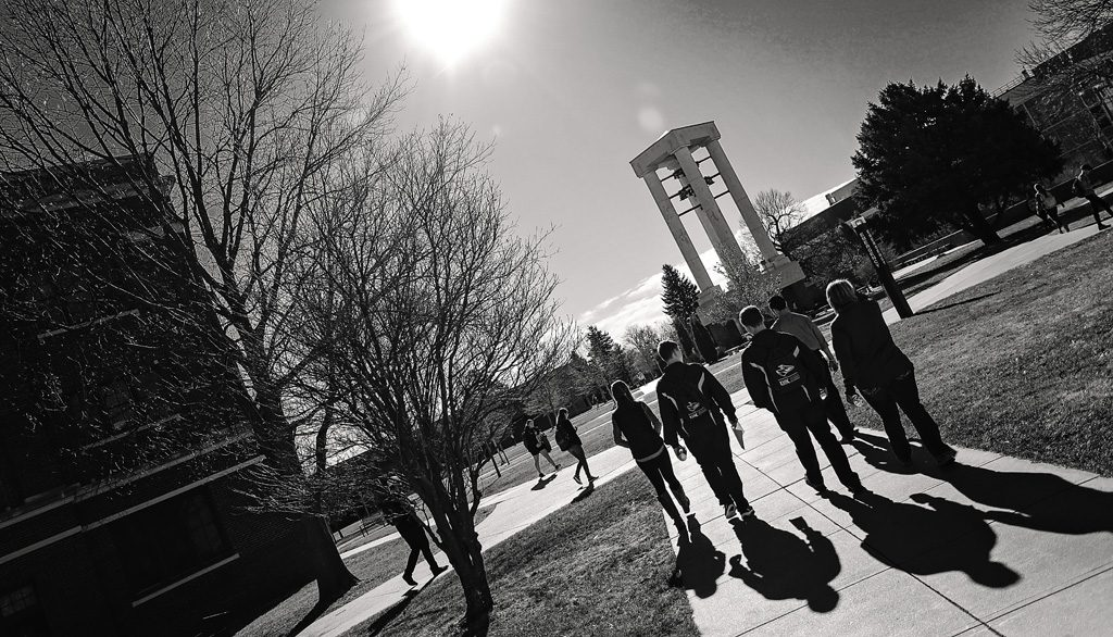 10:06 a.m. - The UNK bell tower is always of interest to guests taking tours. Erected in 1986, it plays music daily at 8 a.m., noon and 5 p.m. Student tours include stops at the majority of UNK facilities, including the Nebraskan Student Union, Health and Sports Center, academic buildings and residence halls.