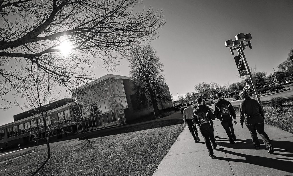 10:11 a.m. - Prospective students walk toward Bruner Hall of Science. UNK campus visits typically last about 2.5 hours.