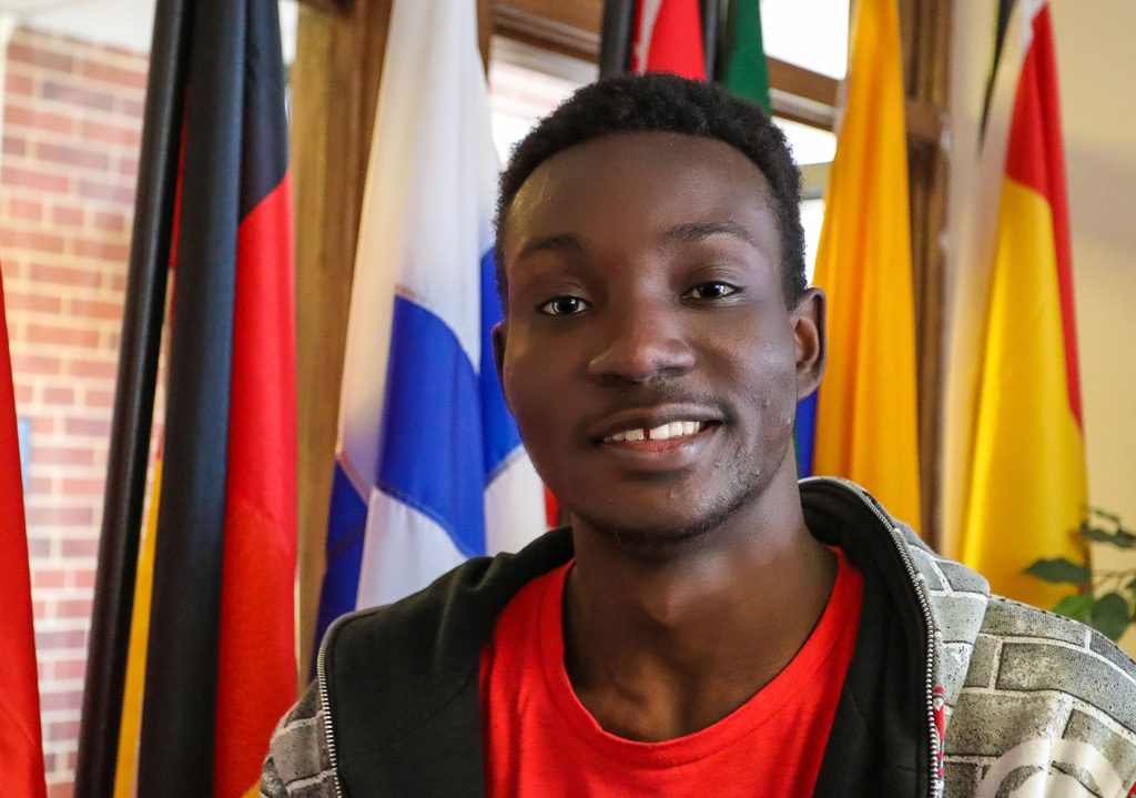 Edem Sognon traveled more than 6,000 miles from Togo, Africa, to attend the University of Nebraska at Kearney. His family provides him with endless support to overcome the language barrier and excel his first year in the United States. (Photo by Corbey R. Dorsey/UNK Communications)