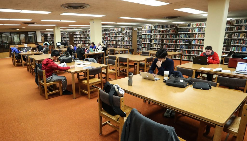 UNK students are being asked what type of study space is most useful, technology they would use most often, and types of retail options they would use at the Calvin T. Ryan library. (Photo by Corbey R. Dorsey/UNK Communications)