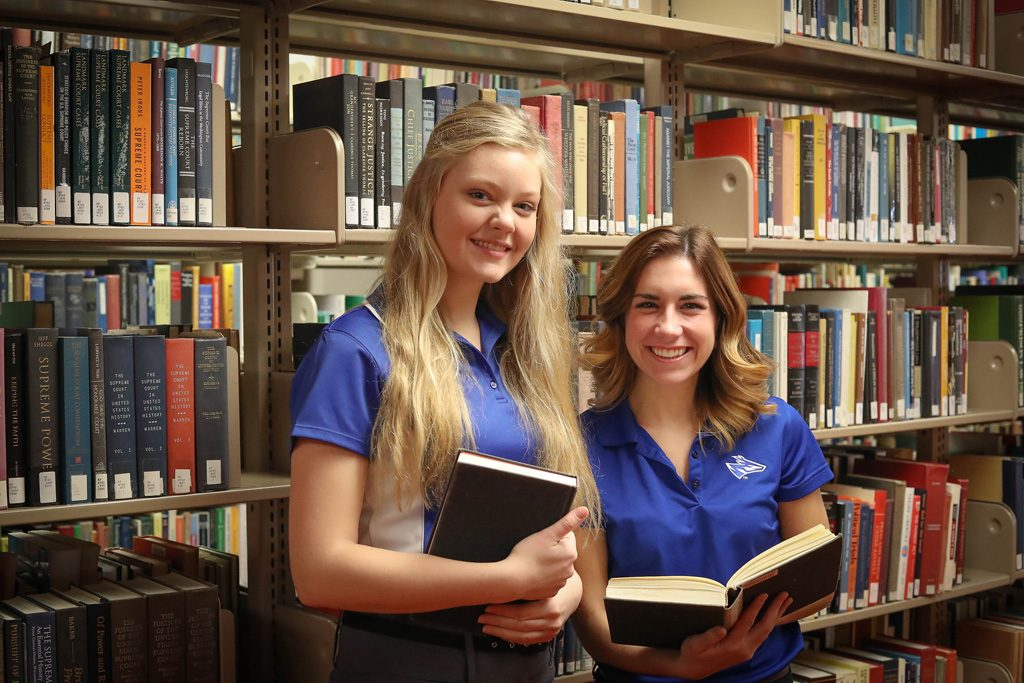 Student body president Rachel Flaugh, left, and vice president Paige Kordonowy are finalizing a student survey to give Student Government and UNK administrators insight on what library improvements would serve students best. (Photo by Corbey R. Dorsey/UNK Communications)