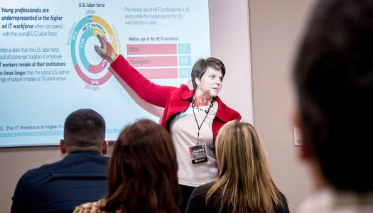 Joanna Grama, director of cybersecurity with Educause, talks during the 2016 Women Advance IT leadership conference. (Photo courtesy of David Houfek)