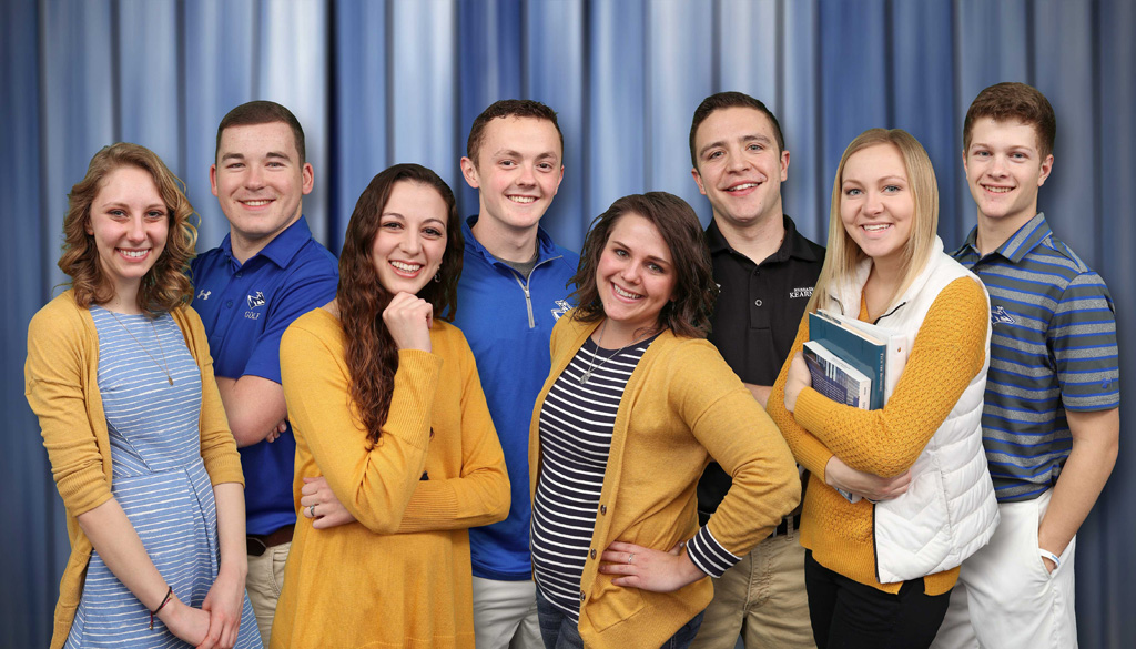 UNK's New Student Enrollment leaders for 2017 include (front row, left to right): Ahnika Lutz, Omaha; Elenna Leininger, Aurora; Laura Hawk, Ewing; and Katie Benner, Central City; and (second row, left to right) Luke Grossnicklaus, Aurora; Jachob Wiedeburg, Sidney; Alex Hart, Lynch; and Logan Krejdl, Aurora.