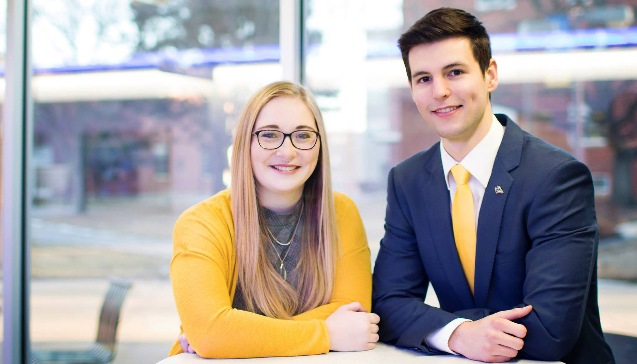 Austin Partridge of Grand Island, right, and Ivy Prater of Ewing were elected Thursday as the new student body president and vice president, respectively, at the University of Nebraska at Kearney.