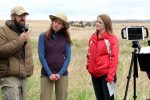 University of Nebraska at Kearney faculty Keith Geluso, left, Mary Harner, middle, and UNL student Shelby Andersen share concepts about science, ecology and resources with middle and high school students during a virtual field trip near Burwell.