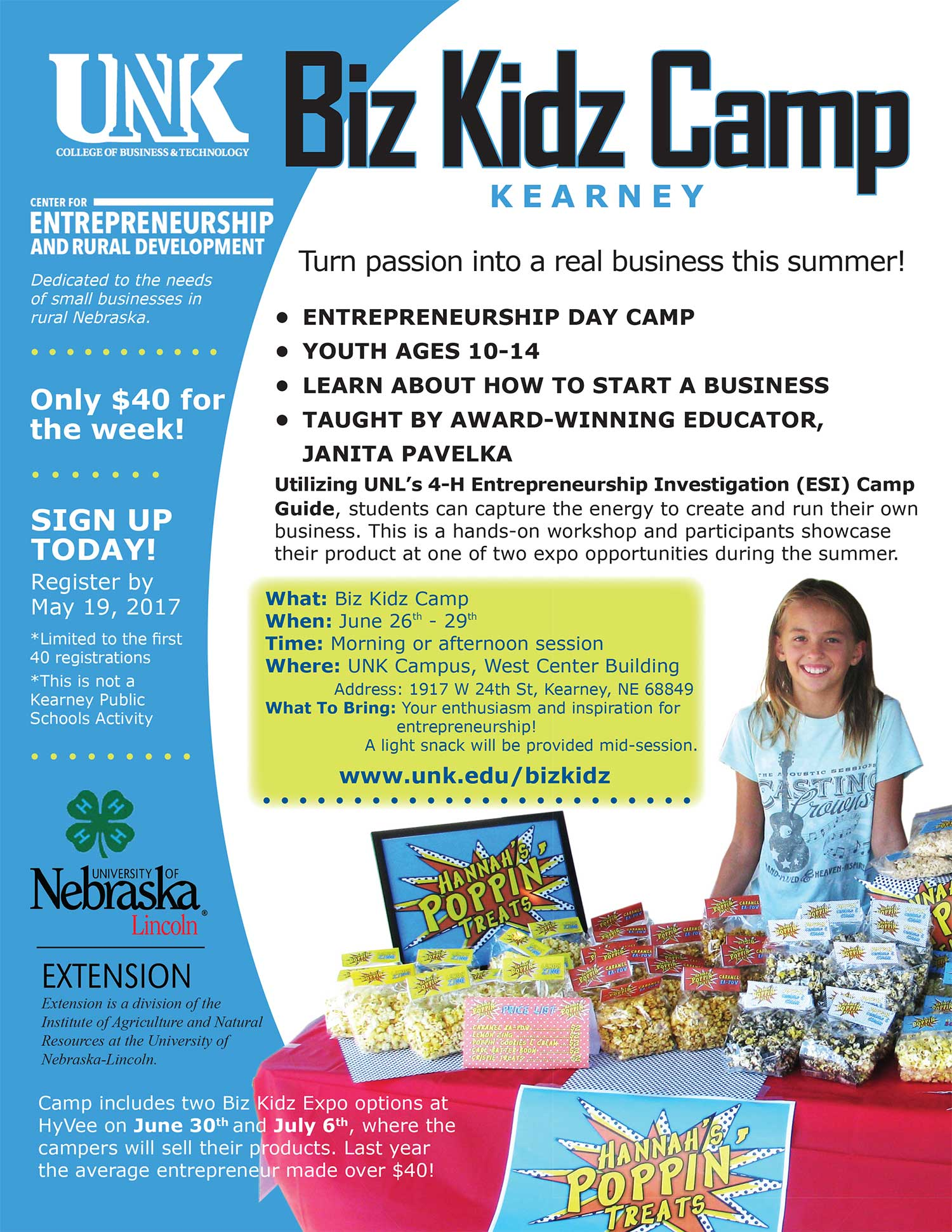 Biz Kidz Camp flyer