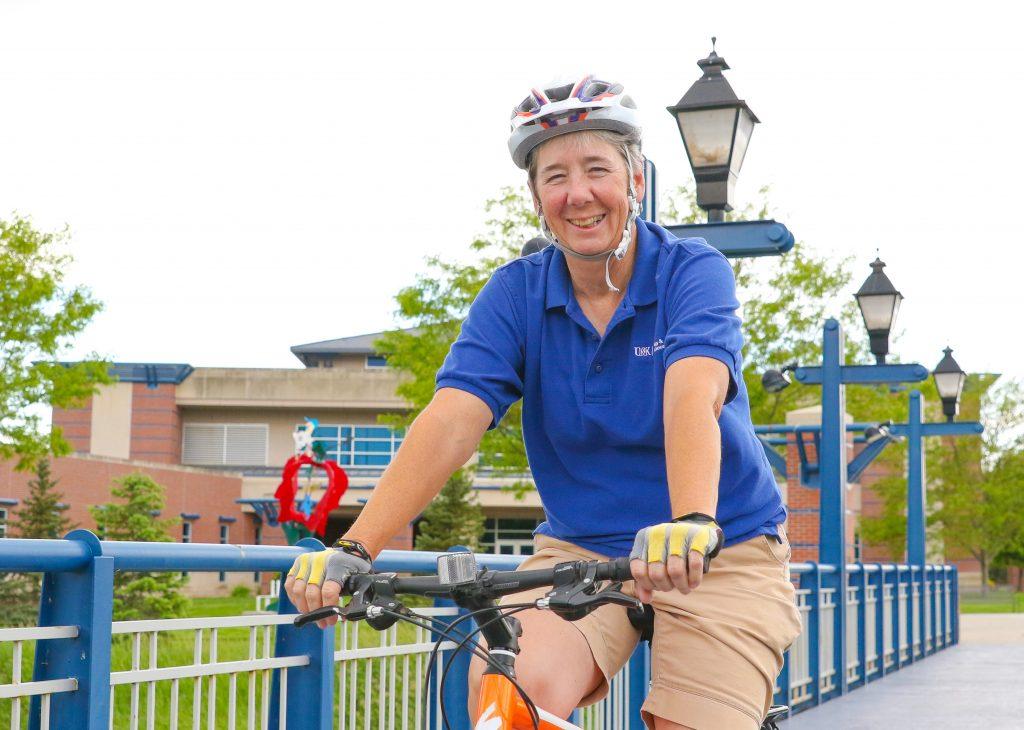Moorman photo on bicycle