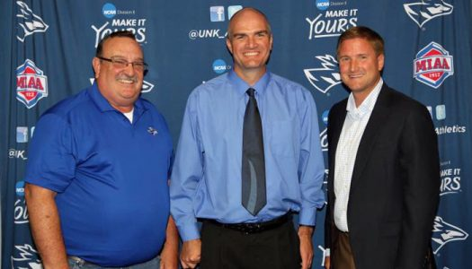 KRVN Station Manager Tim Marshall, left, Sports Director Jayson Jorgensen, middle, and UNK Athletics Director Paul Plinske announced the new partnership for UNK Athletics radio broadcasts.