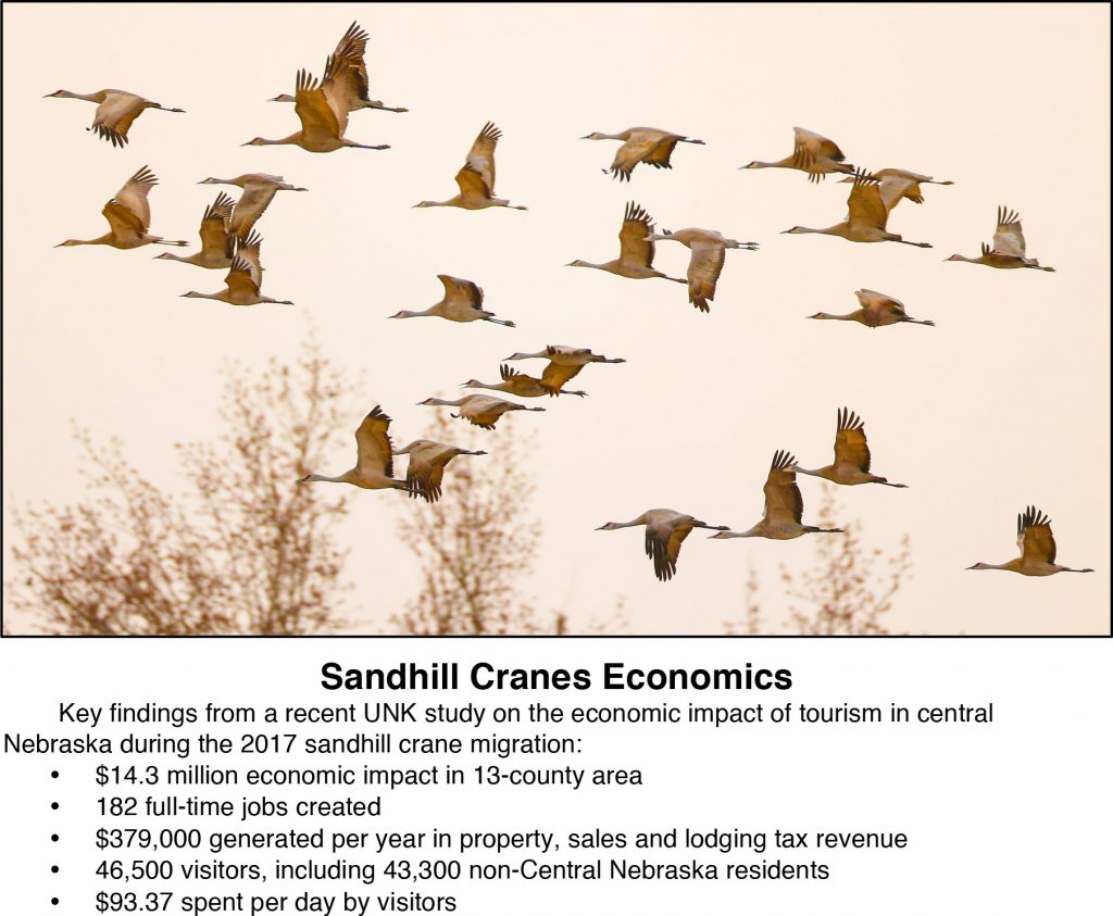 Key findings from a recent UNK study on the economic impact of tourism in central Nebraska during the 2017 sandhill crane migration: $14.3 million economic impact in 13-county area 182 full-time jobs created $379,000 generated per year in property, sales and lodging tax revenue 46,500 visitors, including 43,300 non-Central Nebraska residents $93.37 spent per day by visitors