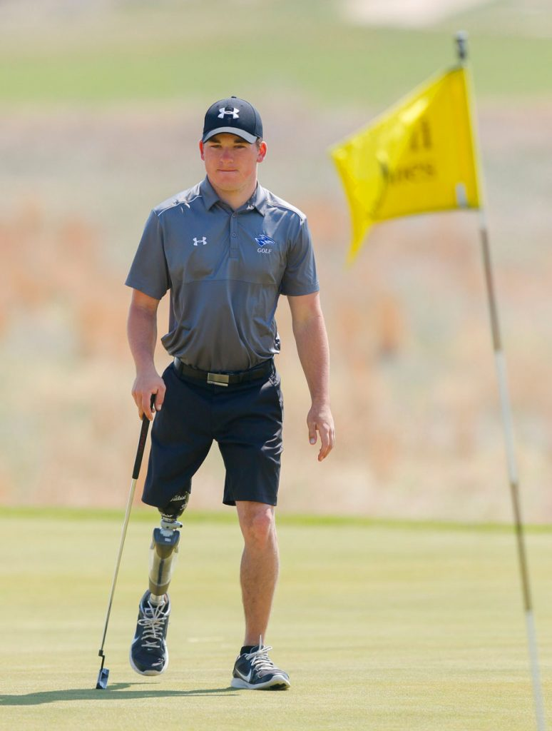 Luke Grossnicklaus was diagnosed at age 4 with scleroderma, a chronic disease that causes the body to attack healthy tissue. The disease settled in Grossnicklaus' right leg, which led to his right leg being amputated just above the knee. (Photo by Corbey R. Dorsey, UNK Communications)