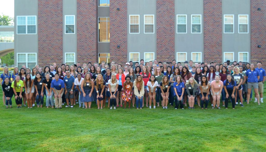 The 2017-18 Thompson Scholars class at UNK includes approximately 100 new students who receive the Buffett Scholarship each year. There currently are 429 students enrolled in the UNK Thompson Scholars program, and more than 900 have entered in its first 10 years. (Photo courtesy/Jennifer Harvey)