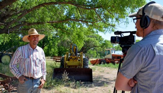 "UNK's Jacob Rosdail interviews a resident of the Cliff-Gila Valley who are featured in the documentary ""Life on the Gila."" The film premieres at the upcoming Santa Fe Independent Film Festival. (Photo courtesy of Mary Harner)"