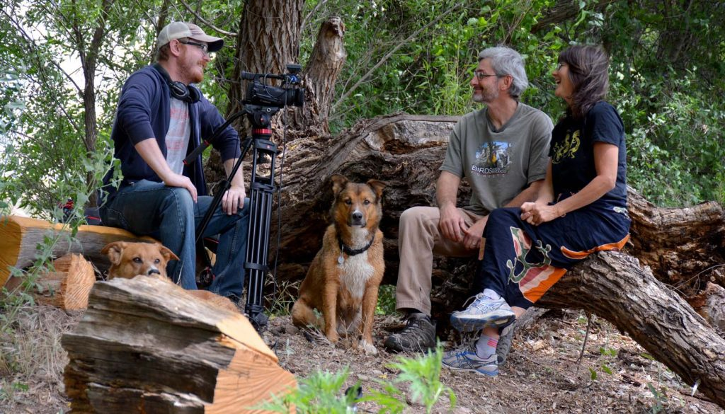 """UNK's Jacob Rosdail interviews residents of the Cliff-Gila Valley who are featured in the documentary """"Life on the Gila."""" The film premieres at the upcoming Santa Fe Independent Film Festival. (Photo courtesy of Mary Harner)"""
