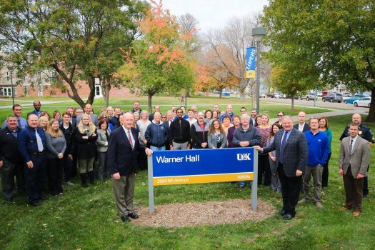 UNK celebrates Warner Hall naming with sign unveil