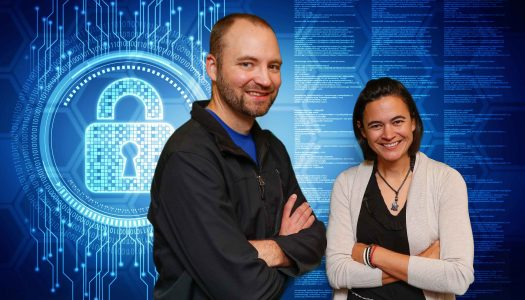 UNK is doing its part to fill the growing need for cybersecurity experts by adding a new Cybersecurity Operations Bachelor of Science Major. Faculty Matthew Miller, left, and Angela Hollman were instrumental in establishing the new program. (Photo illustration by Corbey R. Dorsey)