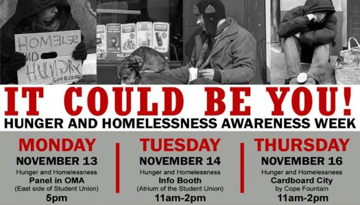 Three events planned for Hunger, Homelessness Awareness Week