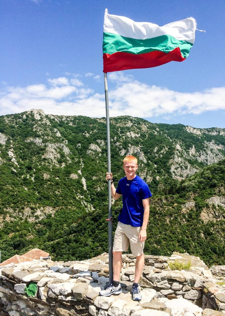Cannon Marchand visits ruins atop Bulgaria's Asen's Fortress near Asenovgrad. A history major from Kearney, he traveled in June and July to Bulgaria, where he taught English to Bulgarian officers through the Cultural Understanding and Language Proficiency program.