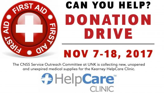 UNK outreach committee collecting medication to assist Kearney HelpCare Clinic