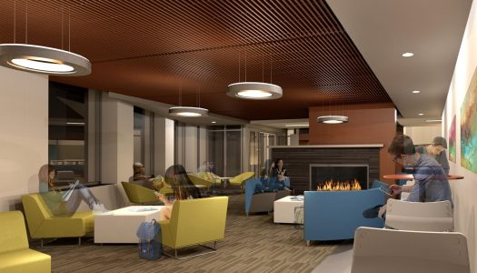 UNK's Living Room coffee shop is being converted into a student lounge, complete with fireplace and new interior finishes and furniture.
