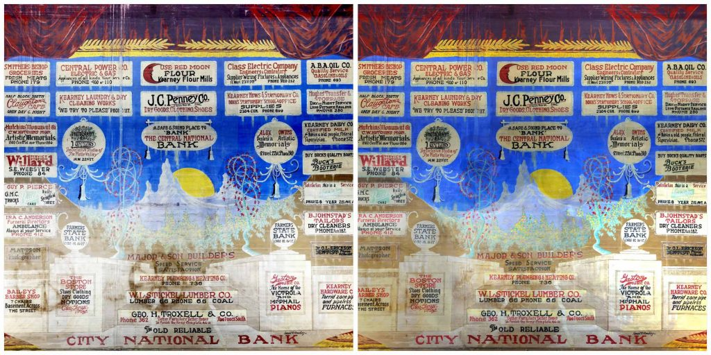 The before, left, and after version of the Kearney Opera House Curtain. (Photos by Cy Cannon, UNK Communications)