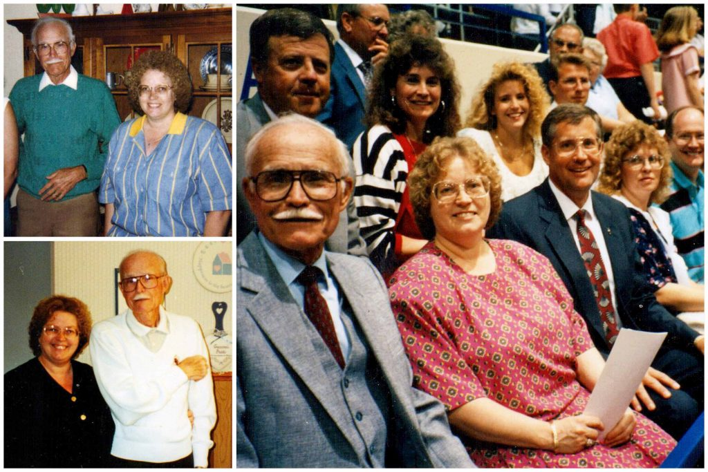 "Kathy Livingston, center, her husband, Les, right, and father-in-law, Les Livingston Sr., left, spent many years attending events together at Kearney State College and UNK. Her father-in-law was a faculty member and coach for nearly 30 years and is a member of the UNK Athletic Hall of Fame for his success as a basketball, football, golf and tennis coach. ""His office in Cushing Coliseum was a favorite spot for my daughters during halftime of KSC basketball games,"" said Kathy."