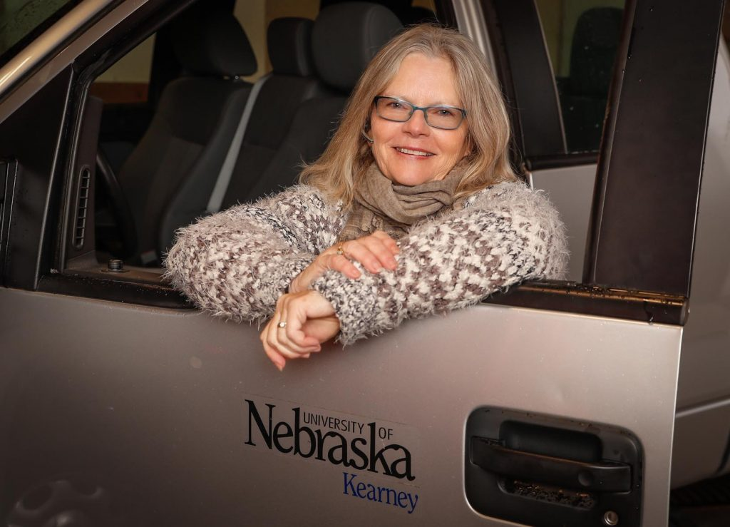 "Wilma Heinowski is retiring from UNK after 35 years of working in police and parking. Her favorite thing about UNK? ""I always go back to the people. They are who make UNK such a great place to work, and my family away from family."" (Photo by Corbey R. Dorsey, UNK Communications)"