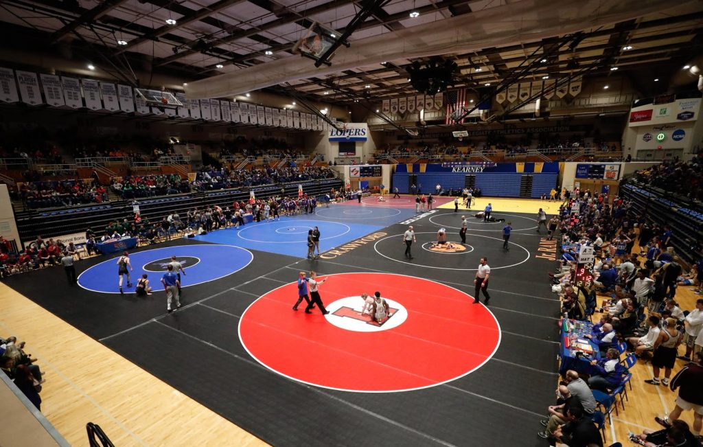 University of Nebraska at Kearney has hosted the NSAA Dual Wrestling Championships each year since the event launched in 2013. The event brings 3,000 to 4,000 competitors, coaches and fans to Kearney. (Photo by Corbey R. Dorsey, UNK Communications)
