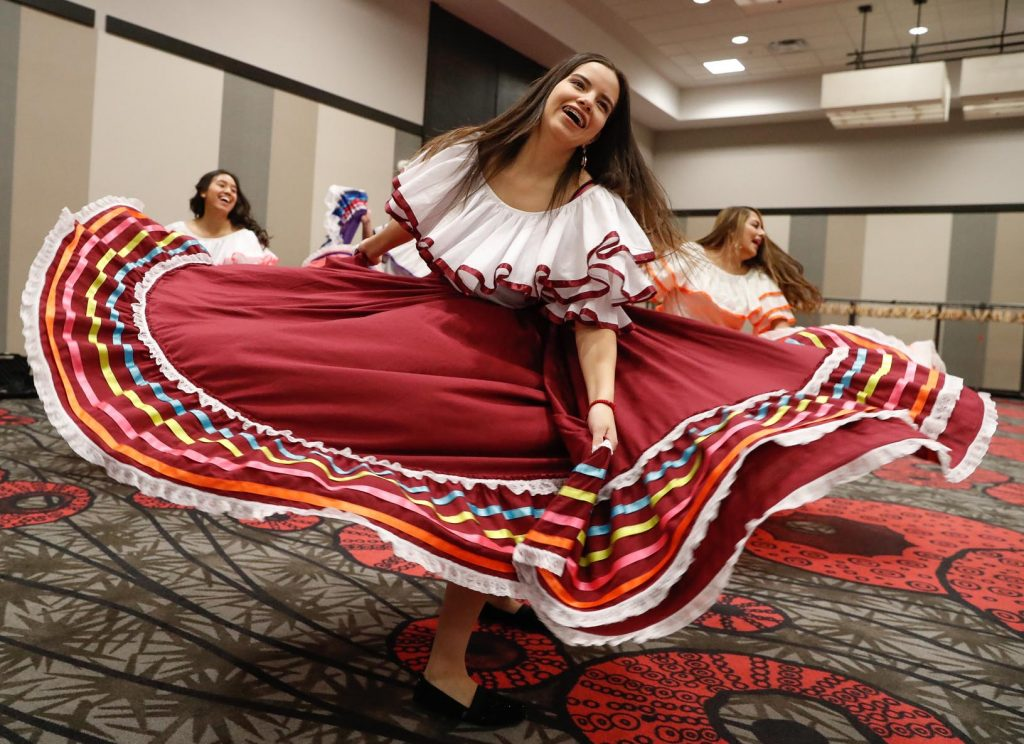 UNK Danza member Ana Vargas of Lexington performs at Friday's Nebraska Cultural Unity Conference. Nearly 300 high school students attended the event. (Photo by Corbey R. Dorsey, UNK Communications)