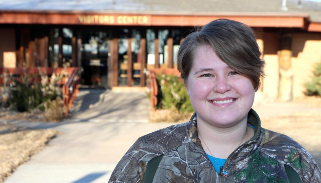 "Holly Green, who graduated from UNK in May, has worked at Fort Kearny State Historical Park and Recreation Area since 2013. She has taught youths and other groups about conservation and the state's ecosystems, plants and animals through the naturalist program. The 23-year-old Grand Island native said she's an ""outdoors person"" who wants to share that passion with others. (Photo by Todd Gottula, UNK Communications)"