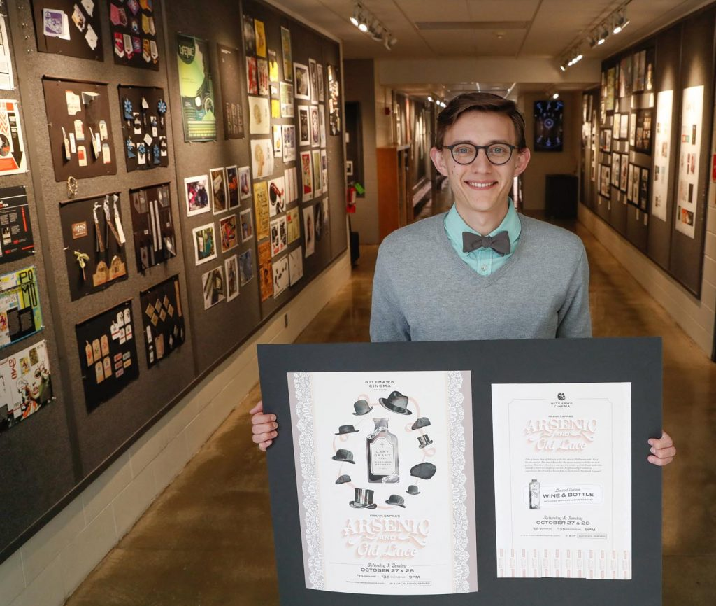 Jase Hueser earned six awards, including best of show, at the recent Nebraska ADDYs design competition. (Photo by Corbey R. Dorsey, UNK Communications)