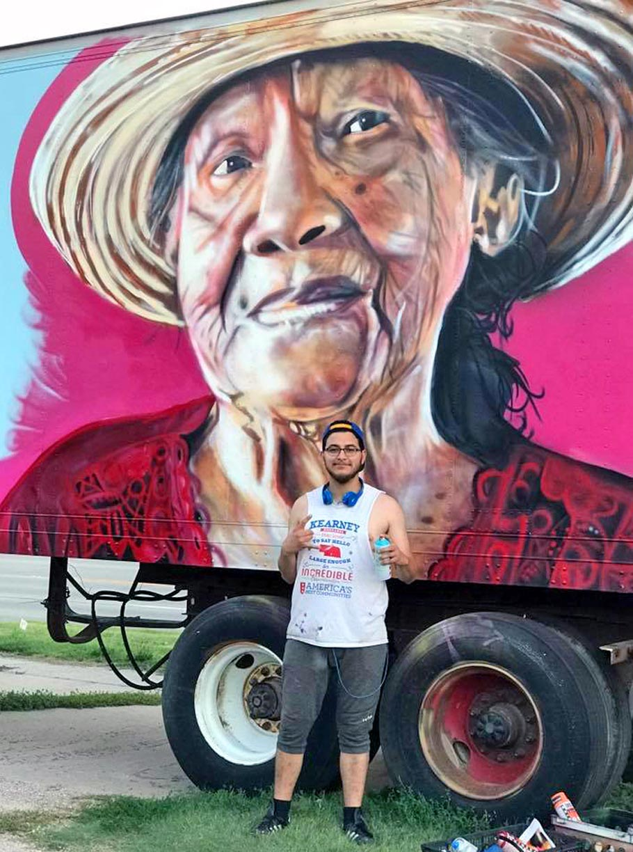 This graffiti artist is different unk alumnus josh arias uses art josh arias created this portrait of his grandmother mercedes on the side of a altavistaventures Image collections
