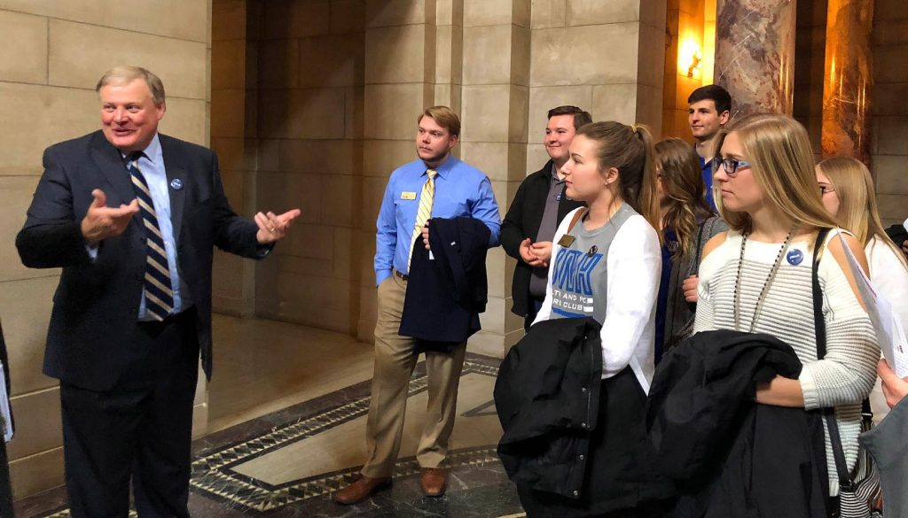 "UNK Chancellor Doug Kristensen gives a tour of the state Capitol at Tuesday's ""I Love NU Advocacy Day."" (Photo by Tyler Ellyson, UNK Communications)"