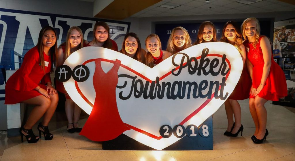 Nearly 200 Alpha Phi members organized and hosted Thursday's Red Dress Poker Tournament. The University of Nebraska at Kearney event raised about $9,000 for women's heart health. (Photo by Corbey R. Dorsey, UNK Communications)