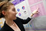 Sophomore Taylor Kizer discusses the links between social media use and health issues such as depression and anxiety during Wednesday's Student Research Day at the University of Nebraska at Kearney. (Photo by Corbey R. Dorsey, UNK Communications)